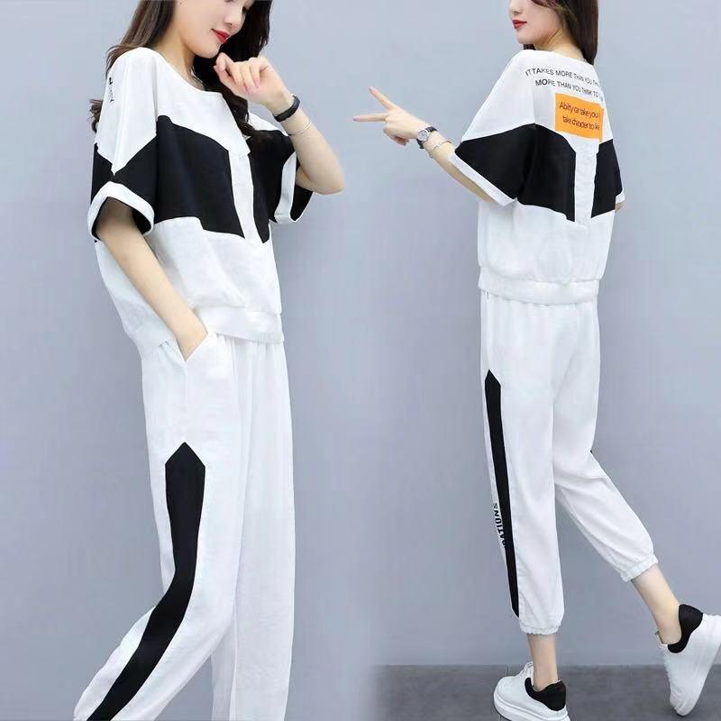 Повседневные женские комплекты, женские спортивные комплекты большого размера, два корейских костюма, стильные брюки, летние комплекты, то...