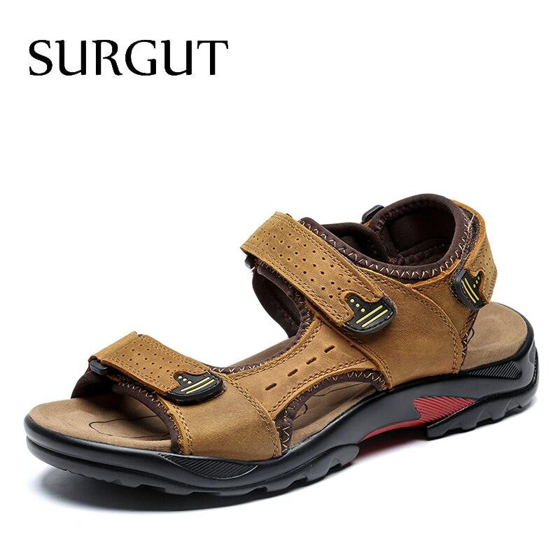 SURGUT-صندل من الجلد الطبيعي للرجال ، حذاء كاجوال مريح ، طراز روماني ، مقاس كبير 38-48 ، للشاطئ ، للصيف