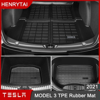 2021 Upgrade TPE Rubber Trunk Mat Front Rear Storage Mats For Tesla Model 3 Accessories Waterproof Protective Pad MODEL3 logo