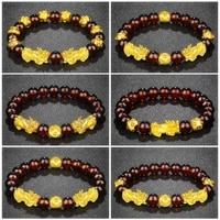 fengshui vietnam shakin pixiu natural crystal red stone beaded bracelets women charms lucky wealth bracelet couple gifts jewelry