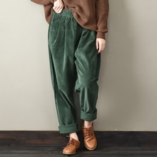 Décontracté femmes velours côtelé pantalon femme Baggy large jambe Hip Hop Streetwear Joggers Vintage automne chaud épaissir lâche pantalon X9196