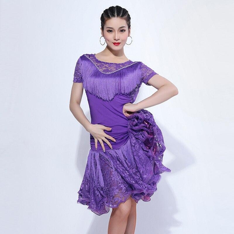 Nuevo traje dividido para baile latino, Sexy con encaje y flecos para adultos, Atuendo para escenario, traje de baile para Salsa, Samba y Rumba para mujer, ropa para mujer VDB269