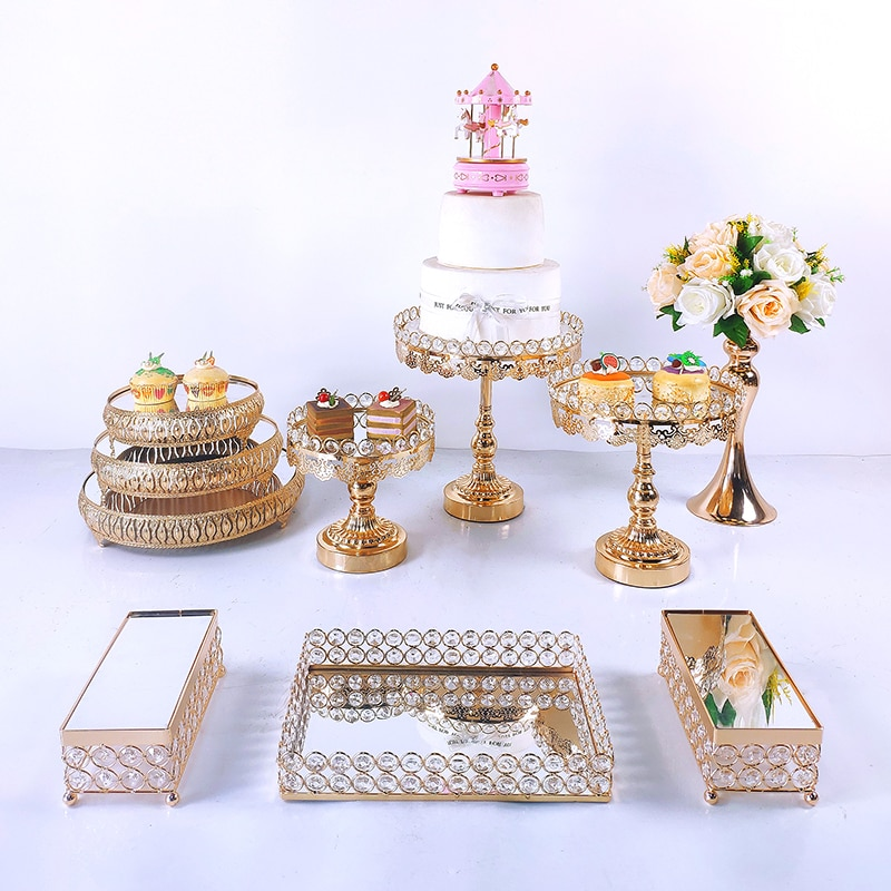 8-10pcs Crystal Cake Stand Set Metal mirror Cupcake stand decorations Dessert Pedestal wedding Party Display cake tray