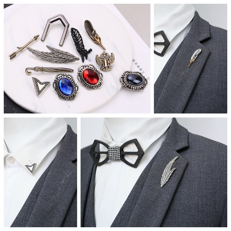 I-remiel Retro hombres garra pluma de águila broche de hoja Pin joyería para hombres traje de solapa Pins camisa Collar accesorios regalos de música