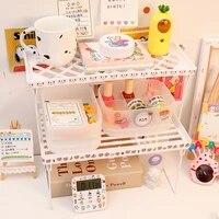 W   G Ins pliant 2 niveaux support etageres de rangement etagere cosmetique organisateur etagere bureau range artefact support de bureau sur Table salle de bain