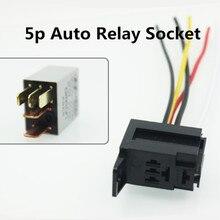 5Pcs DC12V/24V 4-Pin 4 Draden 5pin 5 Draden Relais Socket Harness Holder Connector Voor auto Vrachtwagen