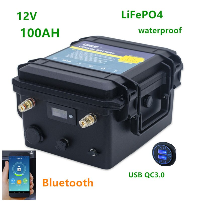 12v 100ah LiFePO4 البطارية مع بلوتوث 12v lifepo4 بطارية حزمة 100AH ليثيوم بطارية حزمة مع 10A شاحن ل قارب