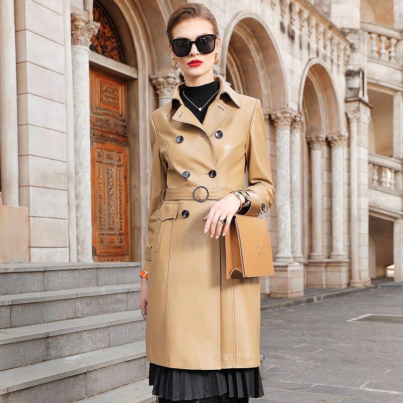 Vintage الطبيعية جلد طبيعي سترة النساء الربيع الخريف سترة واقية 100% جلد الغنم معطف الإناث أنيقة معطف جلد حقيقي 1905