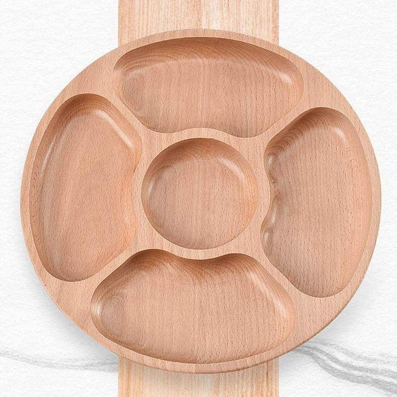Деревянные закуски, сервировочное блюдо бытовой 5 отделений закуски тарелка для сухих фруктов конфеты поднос круглый разделены блюдо лоток-5