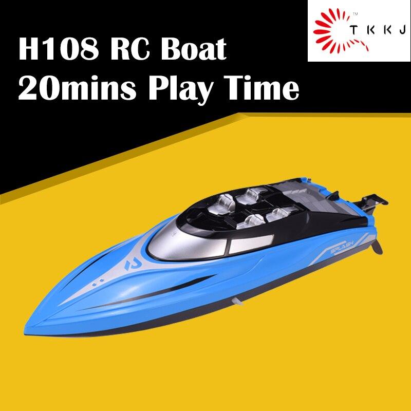 TKKJ H108 136 2,4G 4CH 150M Control de distancia Mini RTR 20 km/h velocidad RC Barco de carreras con función de alarma juguete de agua de regalo para niños