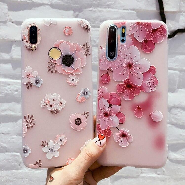 Funda de teléfono rosa con flores bonitas para Huawei Honor 8X 9 10 Lite Funda para Honor 10i 10 i 20 Pro Funda transparente gatos Capa