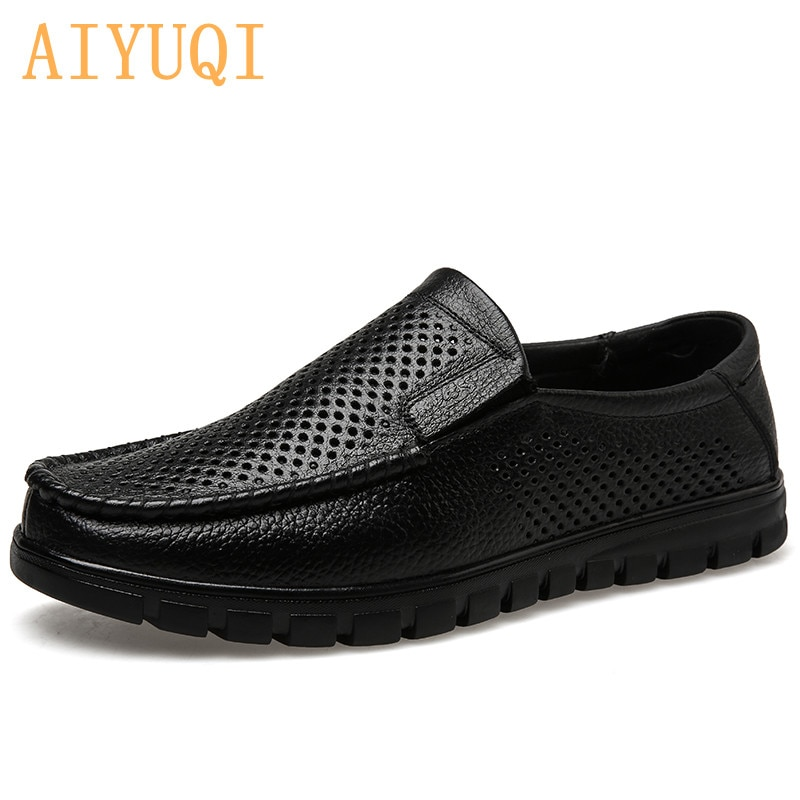 AIYUQI Mens Sandals  2021 Summer Real Leather Hollow Shoes Men Breathable Non-slip Casual Middle-aged Dad