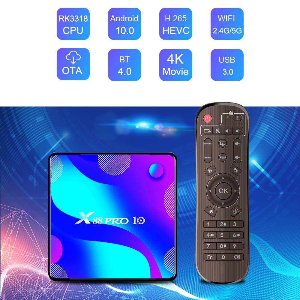 TV Box X88 Pro, Android 10,0, 4K, HD, 5G, wi-fi, bluetooth 4,0, RK3318, Quad Core, 2 GB/4GB de RAM, 16-128GB ROM, H.265, VP9, para Netflix, Youtube