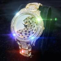 missfox fashion wristwatch men top brand leopard watches men round stainless steel 18k gold diamond waterproof watches for man