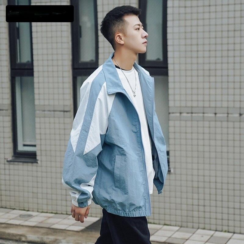 Демисезонные куртки для мужчин, модная мешковатая куртка контрастных цветов в стиле пэчворк, верхняя одежда в японском стиле Харадзюку, муж...