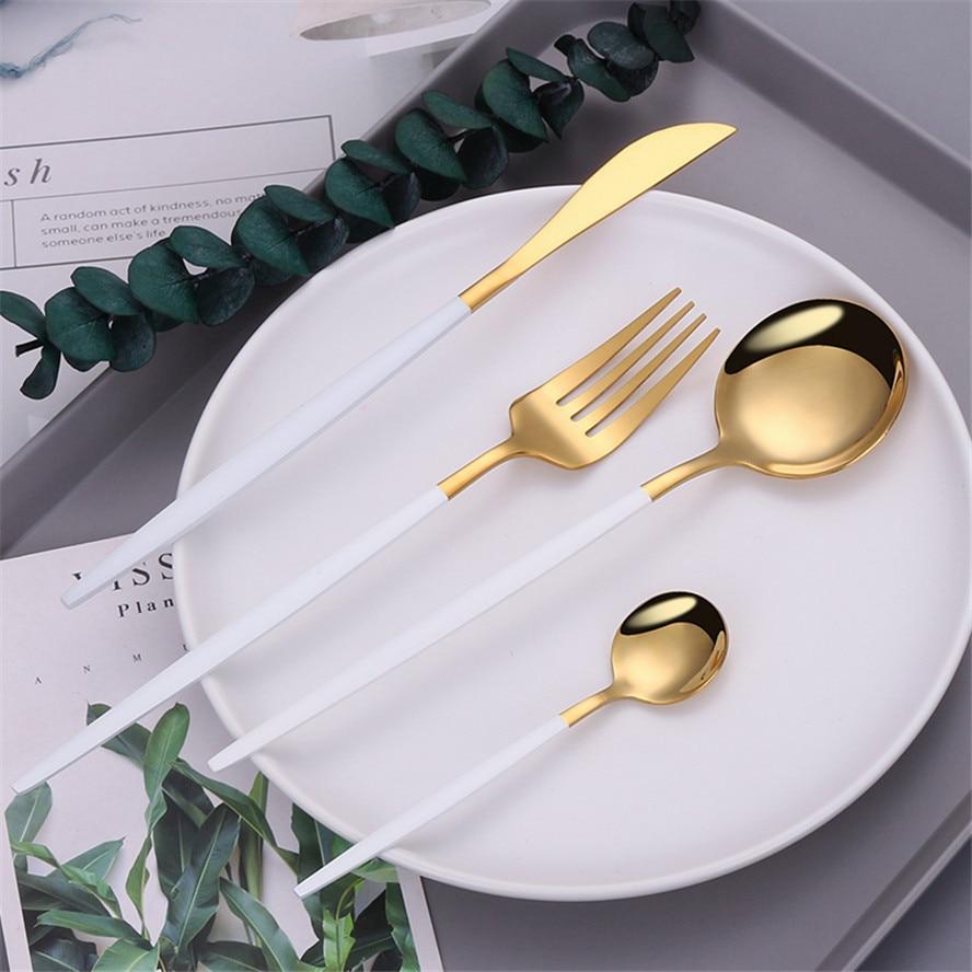 أدوات المائدة الذهب الأبيض الفضيات مجموعة 18/10 الفولاذ المقاوم للصدأ مجموعة أدوات المائدة سكين شوكة ملعقة صغيرة مجموعة أدوات المائدة أواني ا...