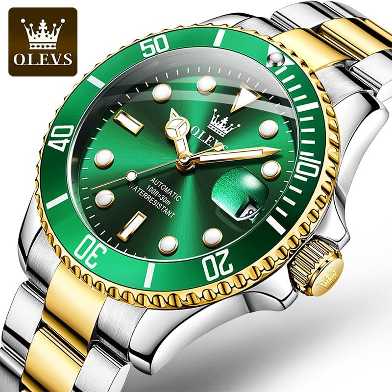 OLEVS 2021 New Luxury Automatic Mechanical Green Water Ghost Calendar Multifunction Luminous 30M Waterproof Men's Watches 6650 enlarge