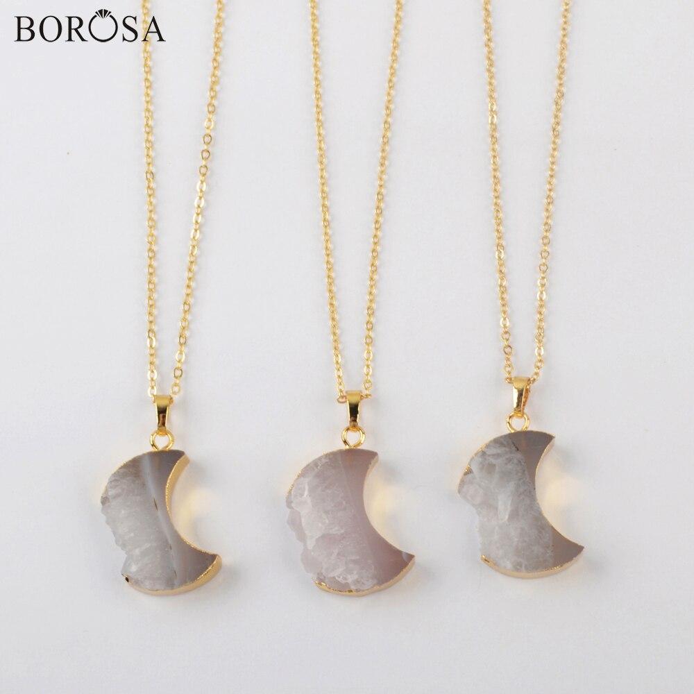 BOROSA, 5/10 Uds., COLLAR COLGANTE de trozo de ágata Natural de 18 pulgadas, collar de cadena de cristal Druzy dorado con forma de Luna, collar G1963-N