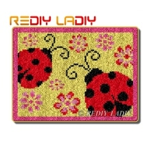 Kits de tapis à Crochet avec loquet   Coccinelle à fleurs, tapis de tapis, 100% fils acryliques, coussin, tapis bricolage, tapis au Crochet, Art et artisanat