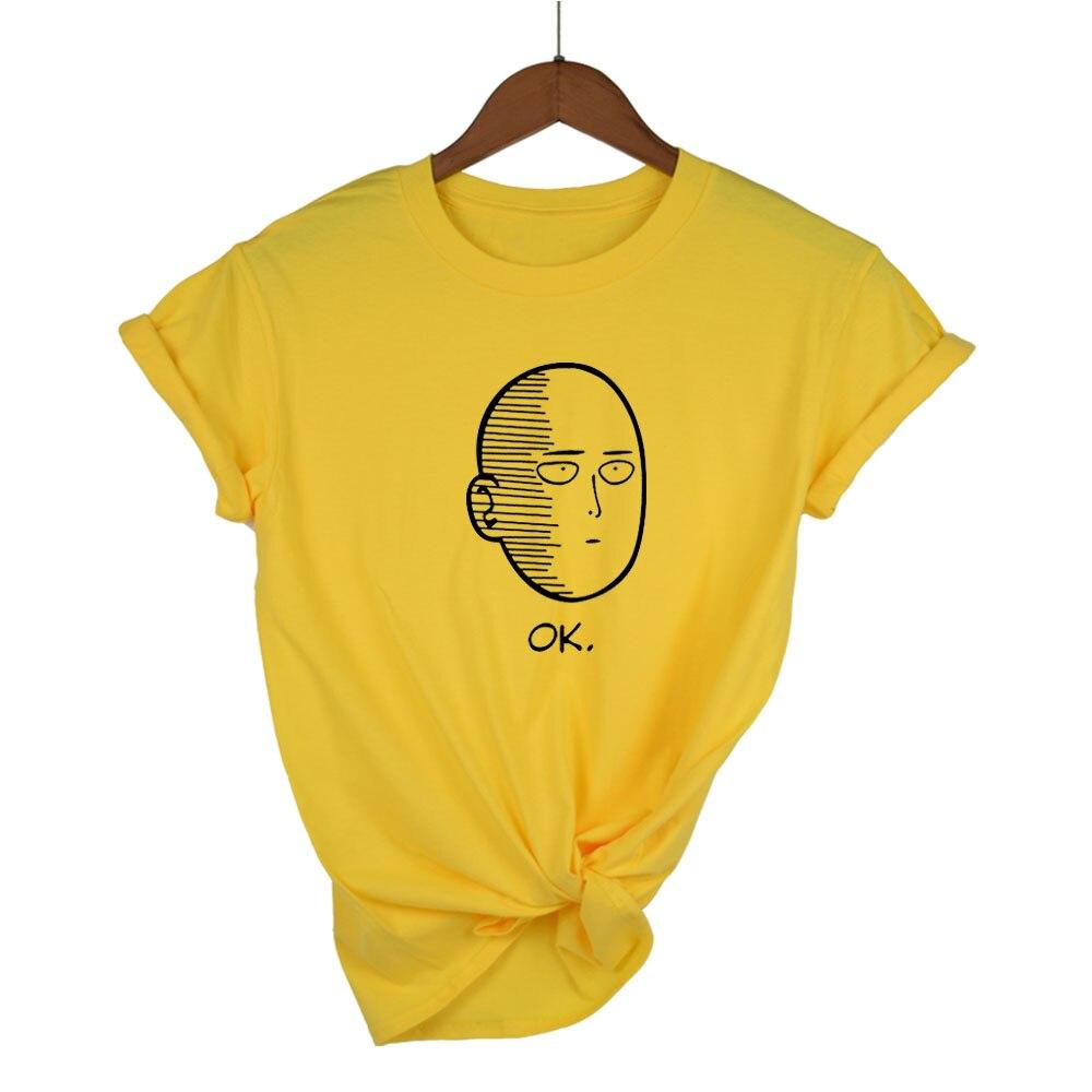 2020 camisetas de mujer Cool One Punch Man Anime ONE Oppai camisetas Ok Hero blanco personalizado Fitness Cartoon divertida camiseta homme