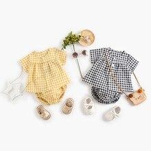 Yg brand children's summer new Plaid baby suit Korean Short Sleeve Top newborn shorts two piece set