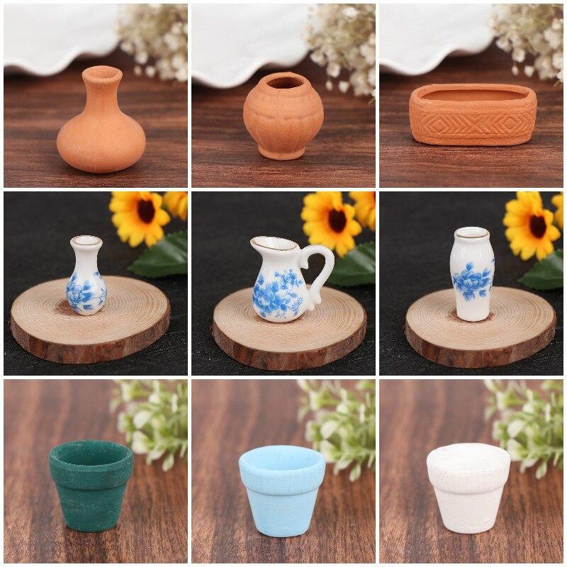 1 шт. миниатюрная фарфоровая керамическая ваза для кукольного домика, аксессуары для кукольного домика, мебель для ролевых игр, игрушки для ...