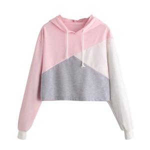Womens Long Sleeve Hoodie Sweatshirt Jumper Hooded Pullover Tops Blouse moletom feminino sudadera harajuku kawaii cropped hoodie