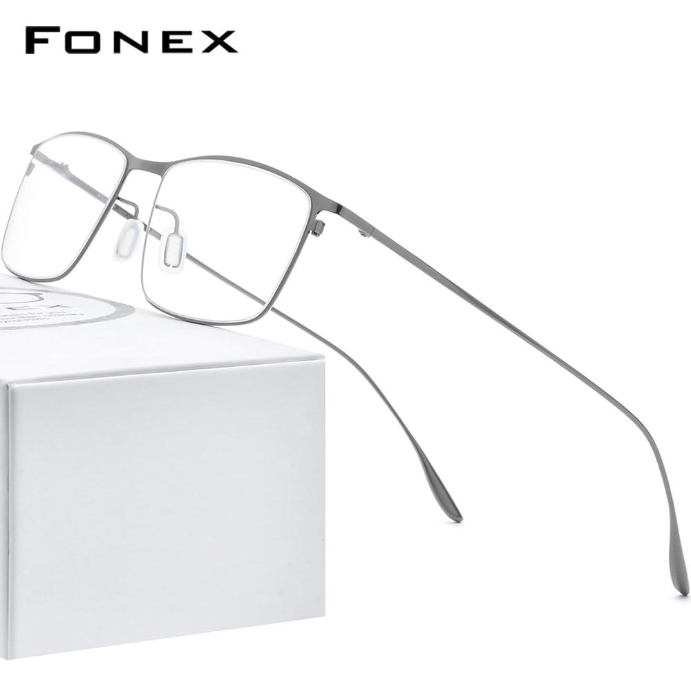 FONEX سبائك التيتانيوم النظارات الإطار الرجال مربع قصر النظر وصفة النظارات إطارات 2020 جديد كامل البصرية الكورية نظارات 8105