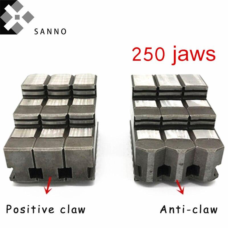 3 فكوك 250 مخرطة ذاتية التمركز ، آلة cnc ، فكوك ، يدوية ، إيجابية ، مضاد للمخالب ، مخالب ناعمة متحركة