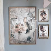 Affiche de decoration en toile nordique douce  peinture dart mural  dessin anime  fille  Animal  impression couleur a leau  image de chambre denfant