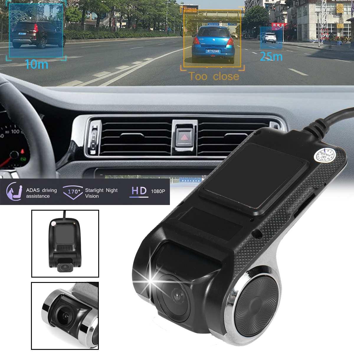 Dashcam largo da gravação do laço do ângulo da câmera 1080 ° do traço de hd do gravador de condução 170 p de android usb com cão eletrônico do sistema de adas
