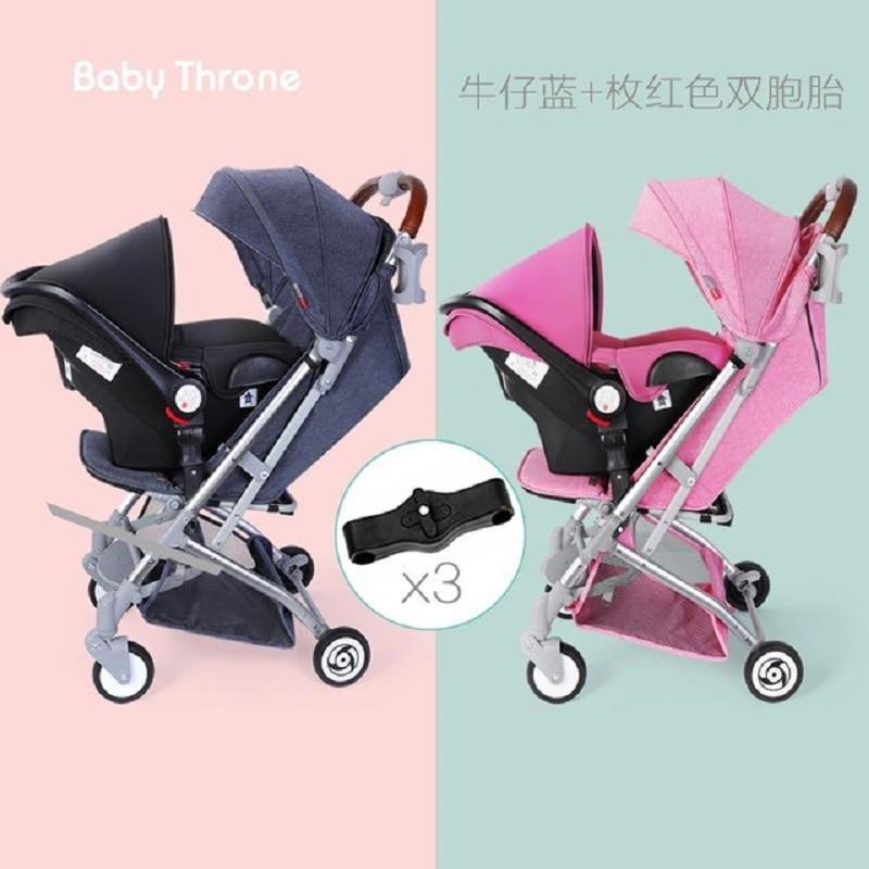 2019 التوأم الطفل عربات يمكن الجلوس و انفصال خفيفة المحمولة للطي الطفل الطفل عربة مع مقعد السيارة مقعد