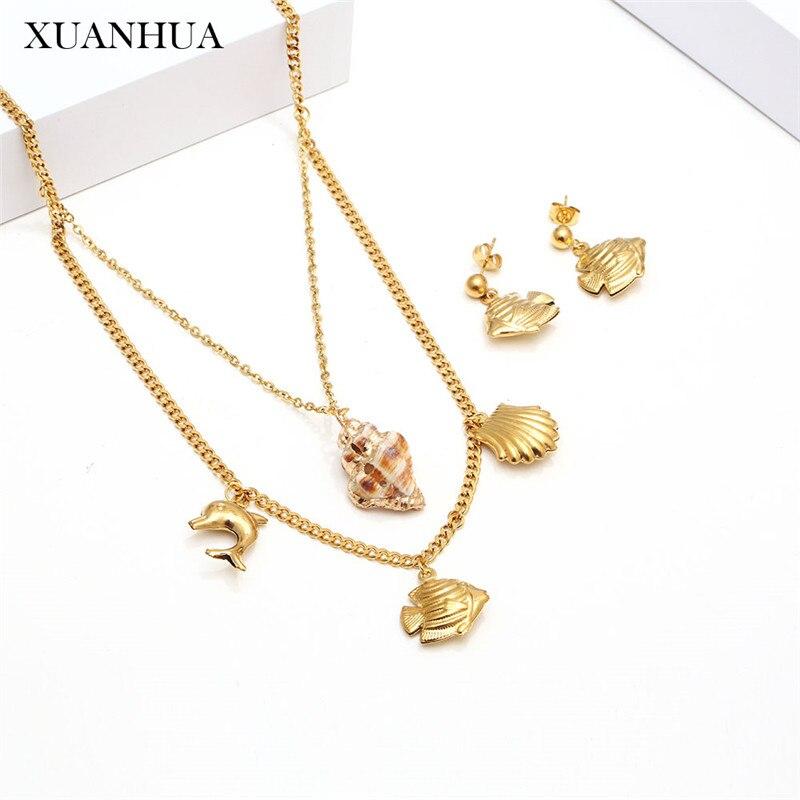 Conjuntos de joyería de acero inoxidable XANHUA, conjunto de collar y pendientes multicapa de concha, accesorios de mujer, gargantilla de joyería de moda, cadena