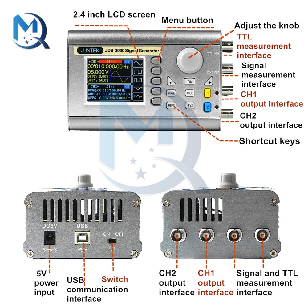 DC 5V Function Generator JDS2900-15MHz Full CNC Dual Channel DDS Function Arbitrary Wave Signal Generator Kit