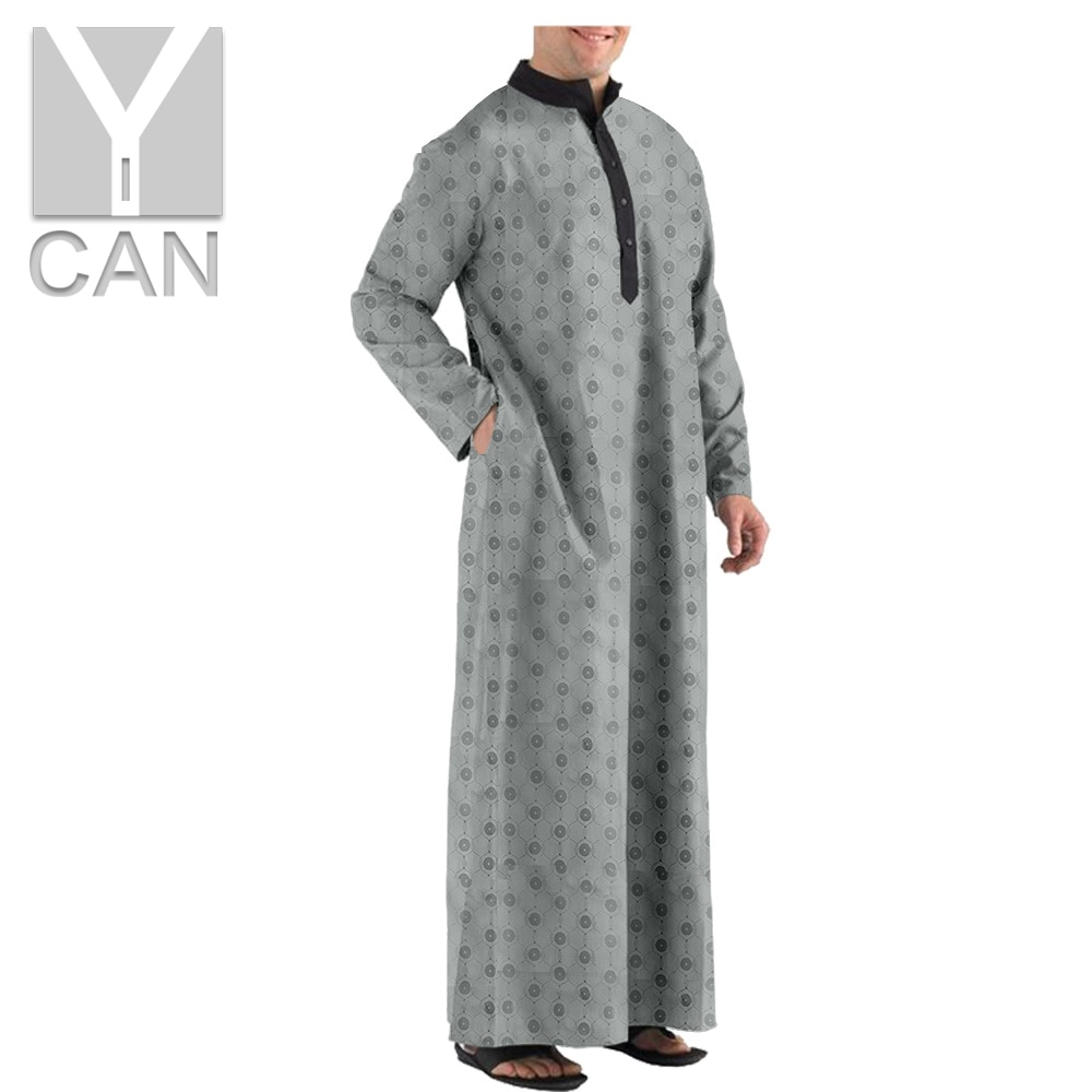 Y-CAN Muslim Fashion Men's Texture Robe Islamic Arabic Kaftan Long Sleeve Abaya Robes Clothing Row Buckle Jubba Thobe Y201013