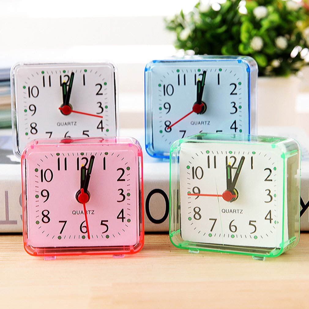 1PC Creative Cute Small Square Crystal Alarm Clock Watch Electronic Alarm Clock Night Light For Home Bedroom Bedside Office