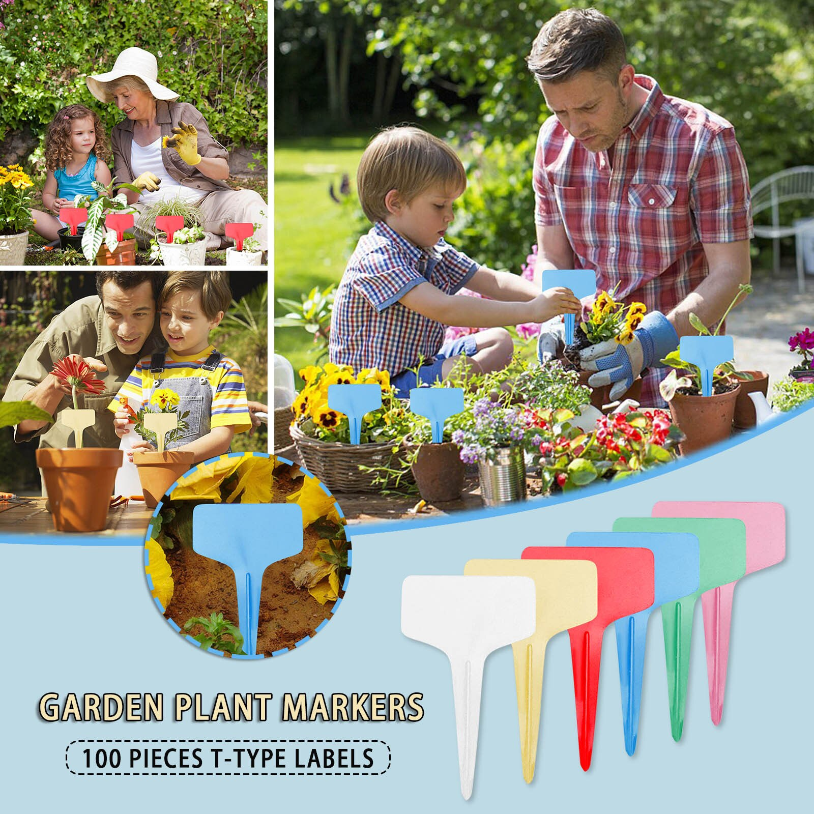 100 Pcs/lot Reusable Plastic Plant Markers T-type Tags Nursery Garden Decor Tags for Plants Flower Pot Tags Garden Supplies
