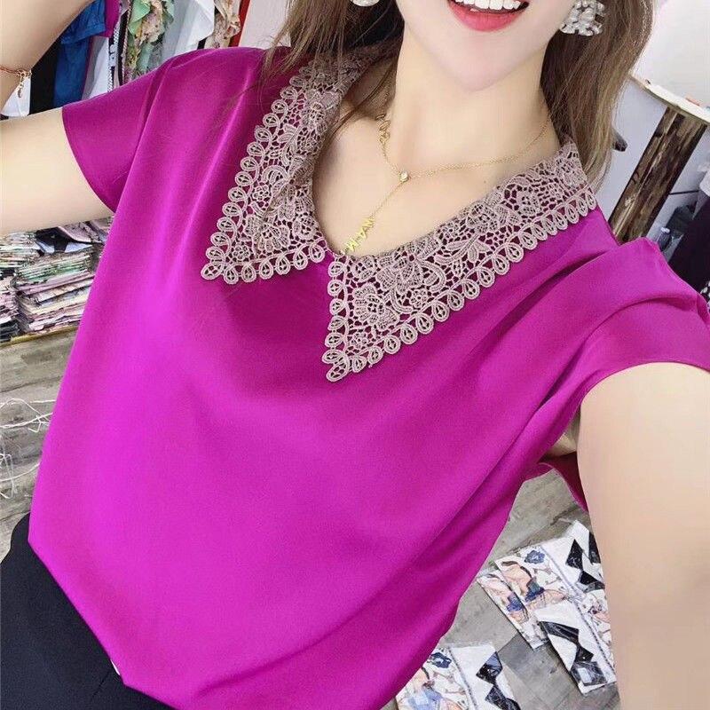 Mujer primavera verano estilo Blusas camisas dama pantalón corto Casual manga Peter Pan Collar Blusas ZZ0802