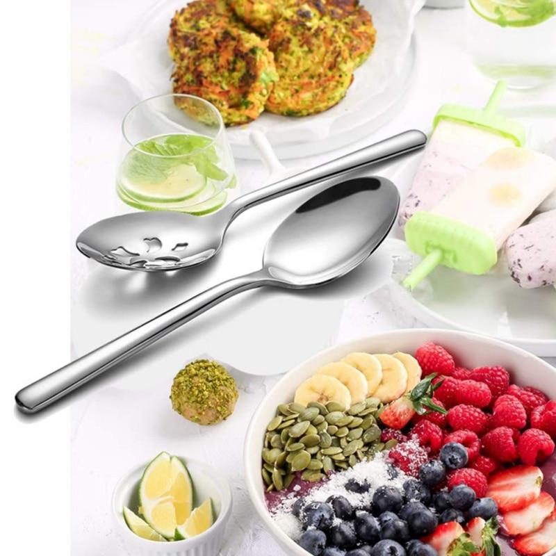 Acero inoxidable para servir cuchara ranurada Skimmer calidad Extra fina para fiesta cena utensilios de cocina tmomix Conlander Durable