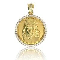 vintage christ jesus pendant necklace fashion aaa cubic zircon cross chain heavy men jewelry gift religious christian jewelry