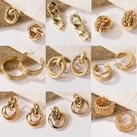 new fashion gold color metal drop earrings stainless steel simple knot twist earrings for women statement jewelry 2020 pendiente