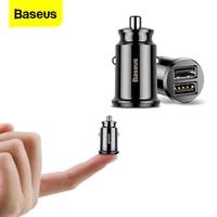 Автомобильное зарядное устройство Baseus, 2 x USB, 3.1 А, цвет черный, разъём прикуривателя, совместимо с iPhone, Samsung, Xiaomi