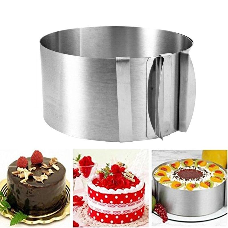 Anillo retráctil de espuma circular de acero inoxidable herramienta para hornear torta forma de tamaño ajustable de plata para hornear herramientas de cocina