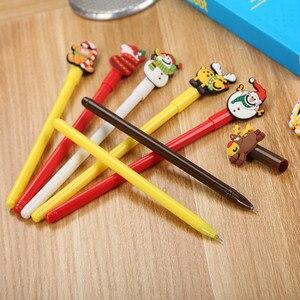 30PCS Stationery Stick Christmas Neutral Pen Cute Cartoon Santa Claus Prize Gift Silicone Gel Pen Cute Pen