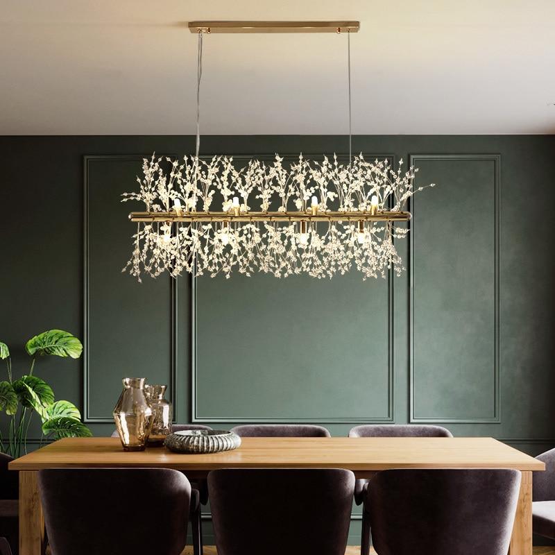 Lámpara de araña de Cristal, luces colgantes de Cristal, nórdica, LED, decoración...