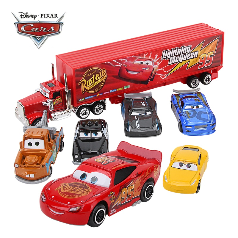 7Pcs/set Disney Pixar Cars 3 Mack Uncle Truck Toy Car Set Lightning McQueen Jackson Storm 1:55 Diecast Car Model Toy Kids Gift