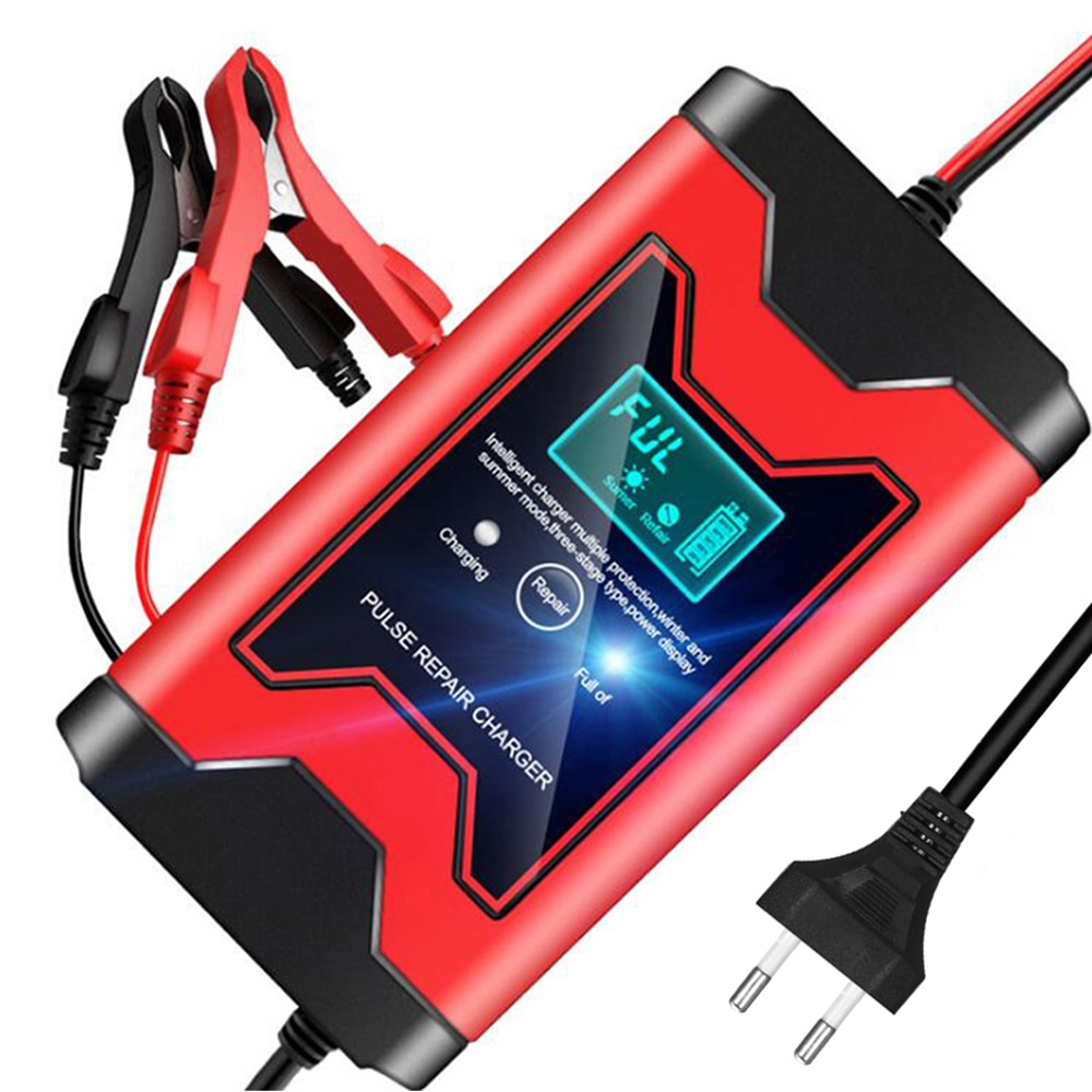 12V 6A  Full Automatic Car Battery Charger Smart Power LCD Display Pulse Repair Chargers Wet Dry Lead Acid Battery-chargers