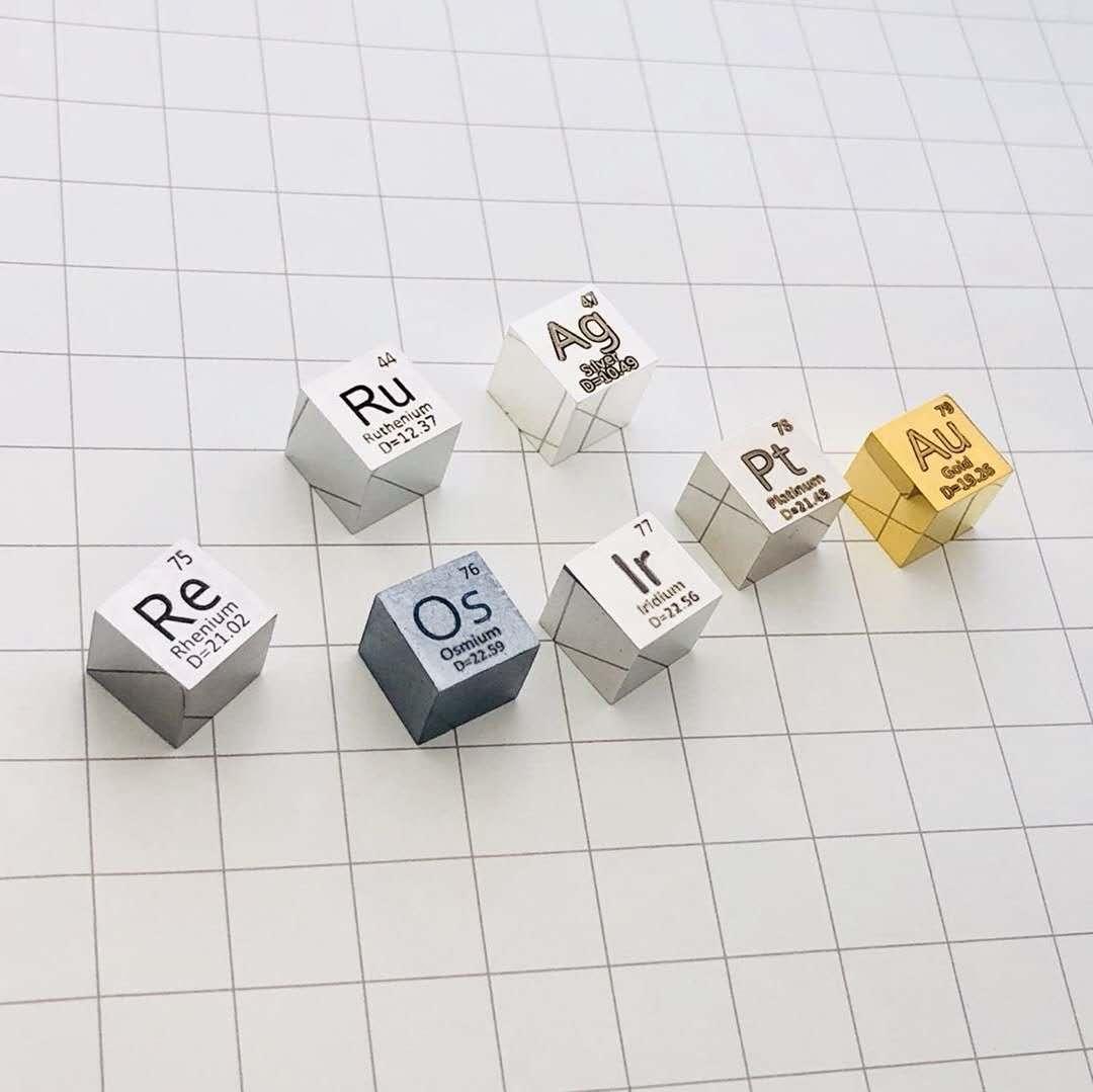 Cubo de densidad de Metal precioso de 10mm 99.99% plata/rutenio/oro/rodio/osmio/iridio/platino/paladio