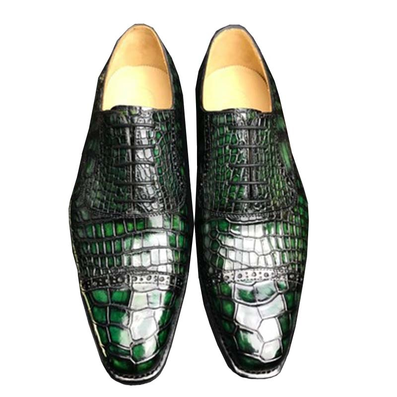 Chue مستوردة من جلد التمساح للرجال ، فرشاة عمل عصرية ، لون سفلي للبشرة ، أحذية رجالية
