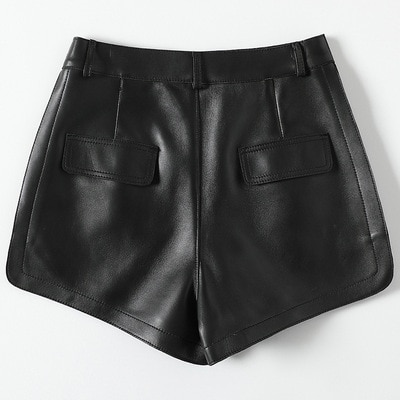 2021 Women New Fashion Genuine Real Sheep Leather Shorts H9